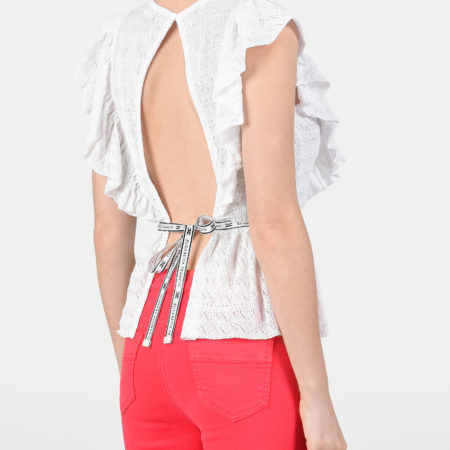 Женская белая блуза с авторскими названиями на пояске ELISABETTA FRANCHI