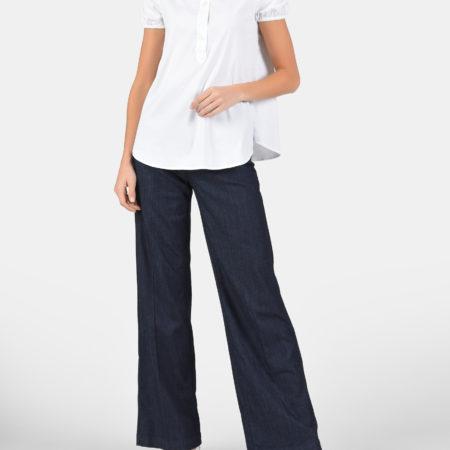 Женская белая блуза с коротким рукавом EMPORIO ARMANI