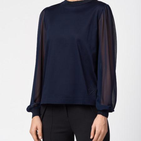 Женская темно-синяя блуза с длинным рукавом EMPORIO ARMANI
