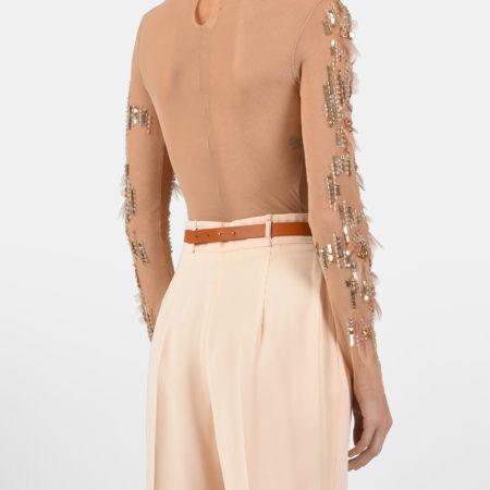 Женская бежевая блуза-боди в стразах ELISABETTA FRANCHI