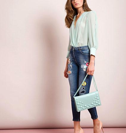 Женские джинсы с разноцветными накладками ELISABETTA FRANCHI