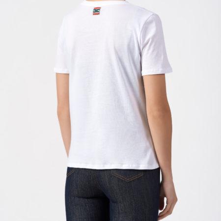Женская белая футболка из хлопка ELISABETTA FRANCHI