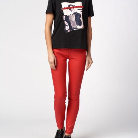 Женская черная футболка с принтом EMPORIO ARMANI