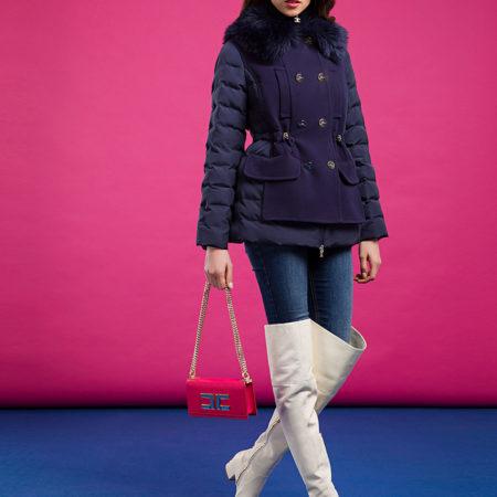 Женская темно-синяя куртка с пуховым воротником ELISABETTA FRANCHI