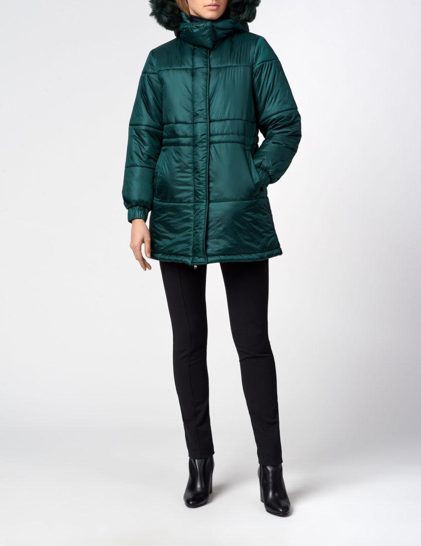 Женская зеленая куртка с капюшоном EMPORIO ARMANI