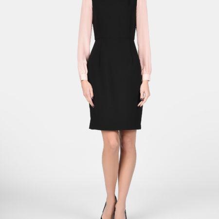 Женское черное платье с розовыми рукавами EMPORIO ARMANI