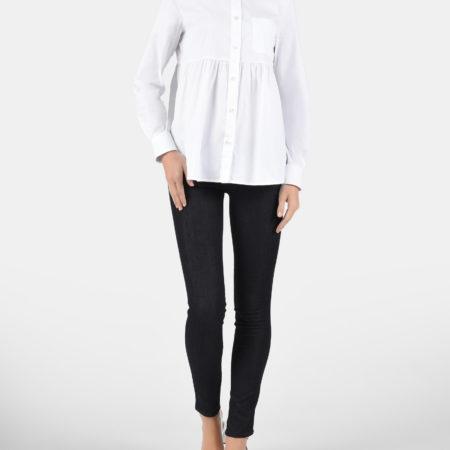 Женская белая блуза с длинным рукавом EMPORIO ARMANI