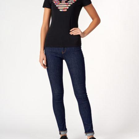 Женская черная облегающая футболка EMPORIO ARMANI