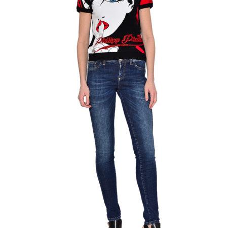 Женская черная футболка с принтом и рукавом-фонарик PHILIPP PLEIN
