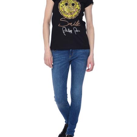 Женская черная футболка с коротким рукавом PHILIPP PLEIN
