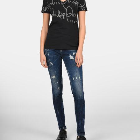 Женская летняя черная футболка с принтом PHILIPP PLEIN