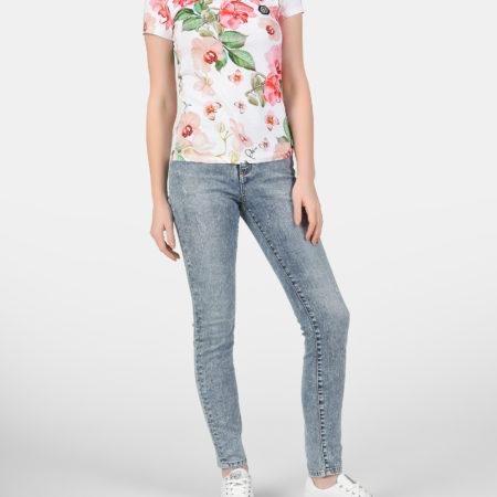 Женская белая футболка с цветами PHILIPP PLEIN