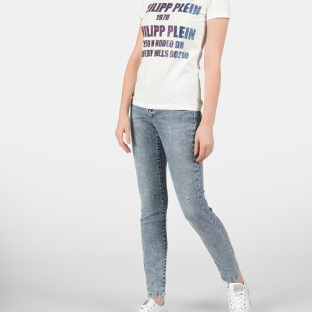 Женская белая футболка с надписями PHILIPP PLEIN