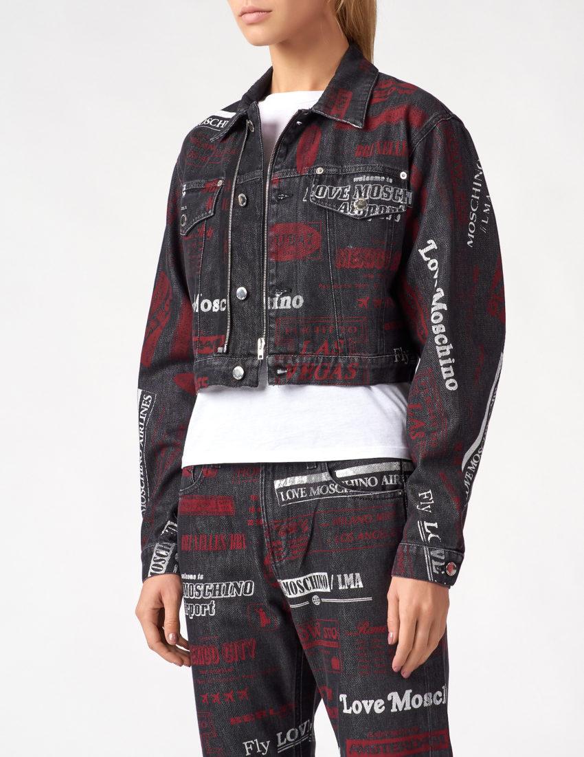 Женская короткая куртка с фирменными надписями LOVE MOSCHINO