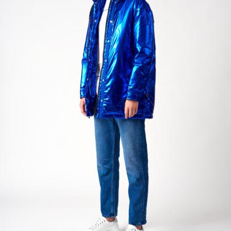 Женская длинная синяя куртка с капюшоном LOVE MOSCHINO