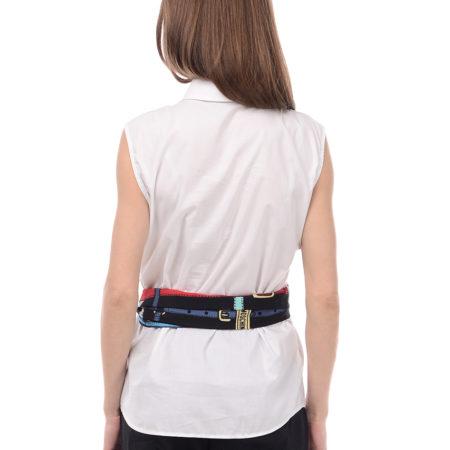 Женская белая рубашка без рукавов LOVE MOSCHINO