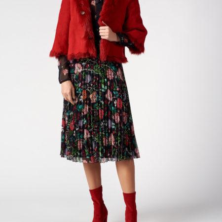 Женская красная шуба двухсторонняя RED VALENTINO