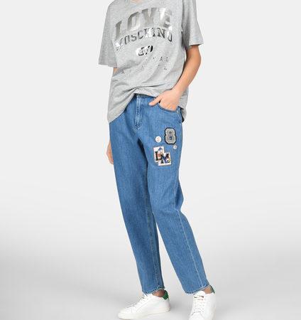 Женские голубые джинсы с рисунком LOVE MOSCHINO